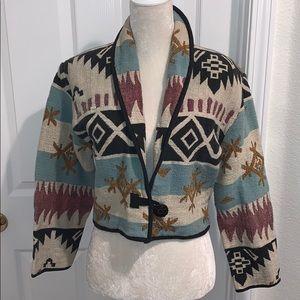 Vintage Southwestern Tapestry Crop Jacket